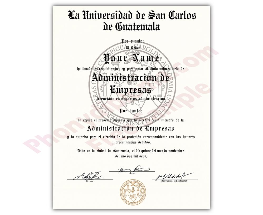 Fake Diploma from Guatemala University Guatemala D
