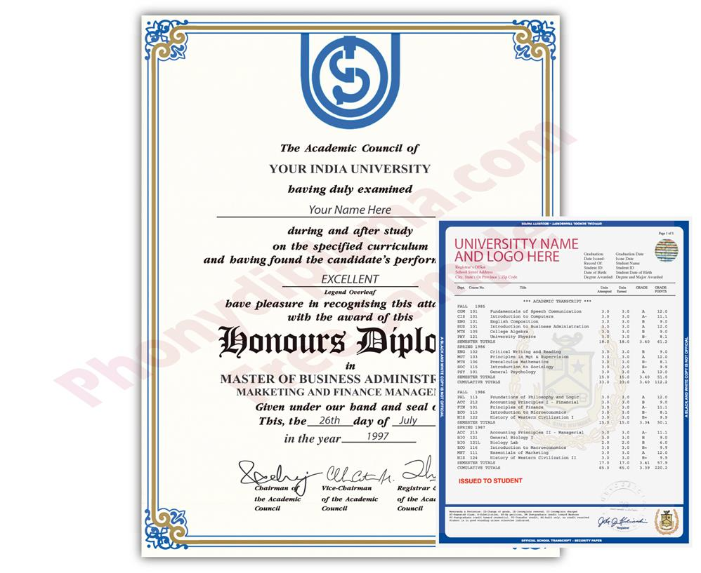 Buy Fake Diplomas and Transcripts from India