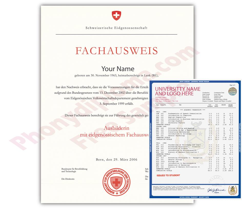 Fake Diploma and Transcripts from Switzerland University