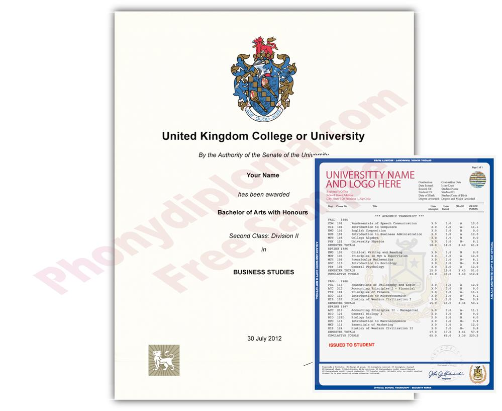 United Kingdom Diploma and Transcripts from United Kingdom University