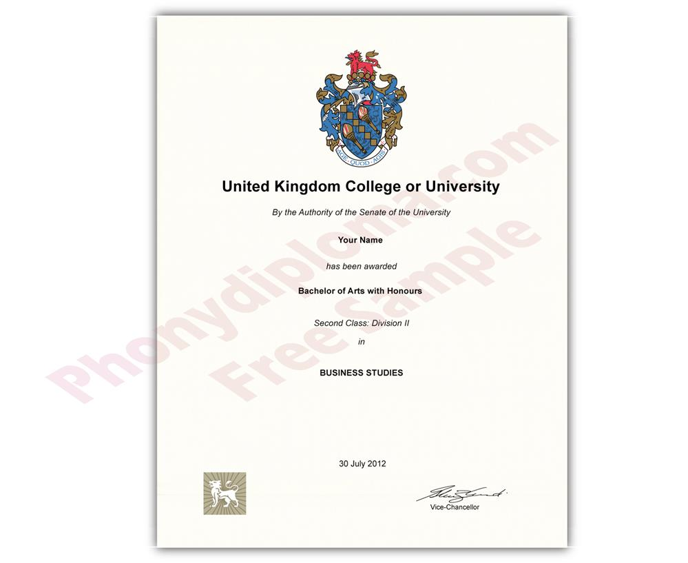 fake diploma from united kingdom university