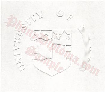 Fake diploma emblem embossed into paper