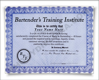 Bartender training certificatenovelty knowledge and achievement bartender training certificatenovelty knowledge and achievement certificate awards diplomas degrees look just like the real thing phonydiploma yelopaper Choice Image