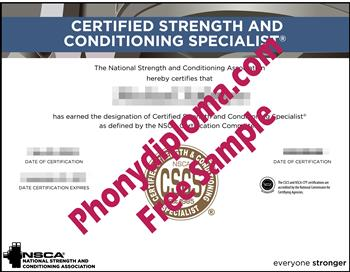 Certified Strength and Conditioning Specialist Fake Diploma from PhonyDiploma