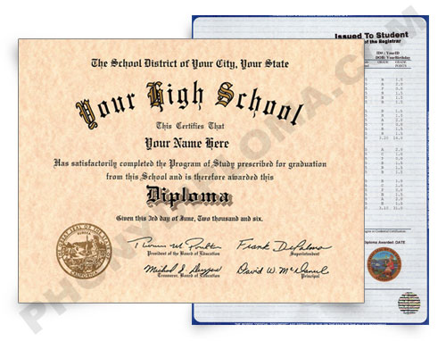 New Designs Fake High School Diploma and Transcripts - PhonyDiploma.com