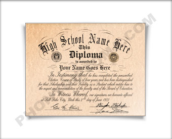 Fake High School Diploma Design from the 1950s HS 50s Dip