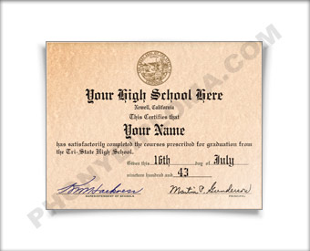 Fake High School Diploma Graduation 1970s