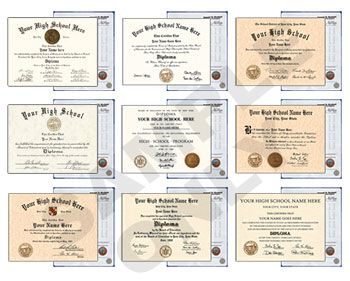 New Designs Fake High School Diploma & Transcripts New HS D&T