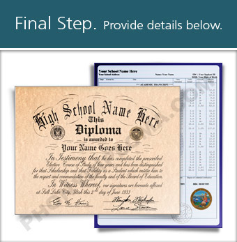 Fake High School Diploma and Transcript Design from the 1950s HS 50s D+T