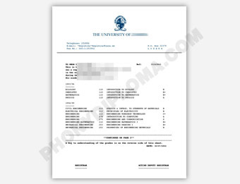 University of Zambia - Fake Transcript Sample from Africa