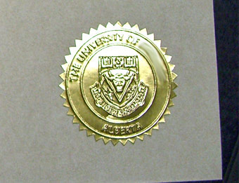 University of Calgary Emblem - Fake Diploma Sample from Canada