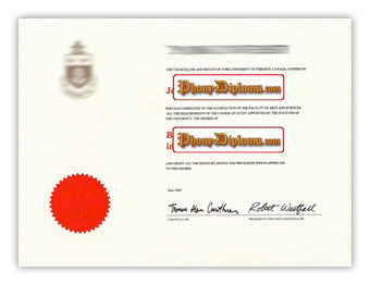 York University (2) - Fake Diploma Sample from Canada