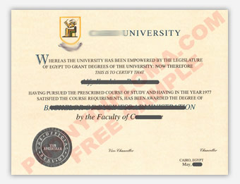Cairo University - Fake Diploma Sample from Egypt