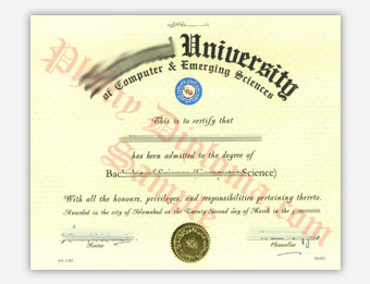 National University of Computer & Emerging Sciences - Fake Diploma Sample from Egypt