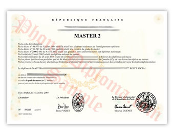 Universite Paris Rene Descartes - Fake Diploma Sample from France