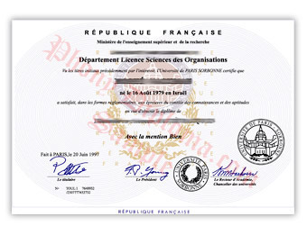 Universite Paris Sorbonne - Fake Diploma Sample from France