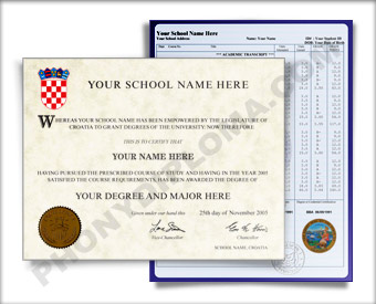 Fake Diploma and Transcripts from Croatia University Croatia D&T