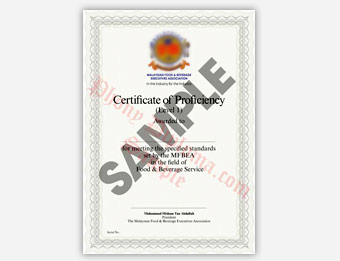 Hotel Food and Beverage Certificate - Fake Diploma Sample from Malaysia