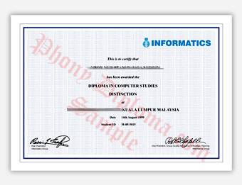 Informatics Institute - Fake Diploma Sample from Malaysia