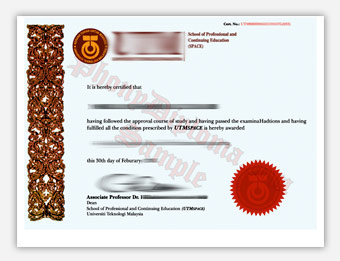UTM Universiti - Fake Diploma Sample from Malaysia