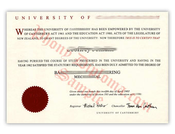 University of Canterbury (2) - Fake Diploma Sample from New Zealand