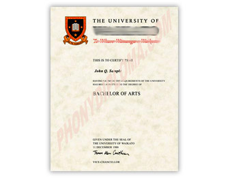 University of Waikato - Fake Diploma Sample from New Zealand
