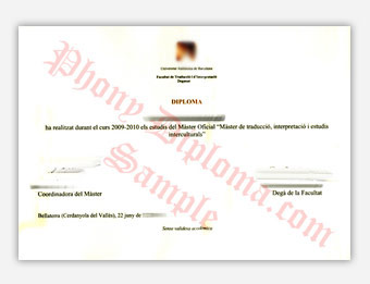 Universitat Autonoma de Barcelona - Fake Diploma Sample from Spain