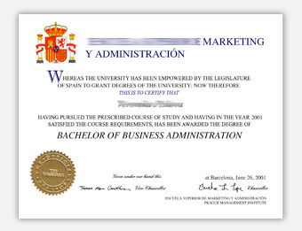 Marketing Y Administracion - Fake Diploma Sample from Spain
