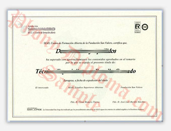 San Velero Spain - Fake Diploma Sample from Spain