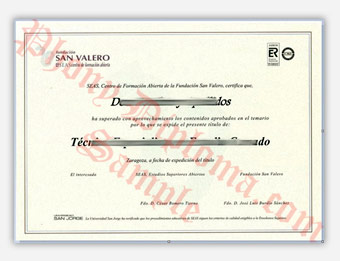 San Valero SEAS - Fake Spanish Diploma Sample
