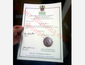 Institute of Commercial Management - Fake Diploma Sample from United Kingdom