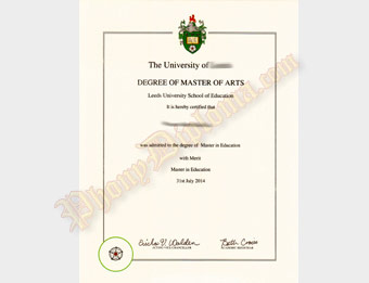 University of Leeds - Fake Diploma Sample from United Kingdom