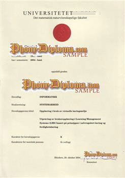 Fake Diploma from Norway University Norway D