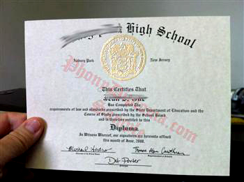 Small size high school diploma with raised gold emblem